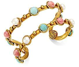 Sylvia Toledano Double Candies 22K Goldplated, Amazonite, 7MM Pearl & Rhodochrosite Open Cuff