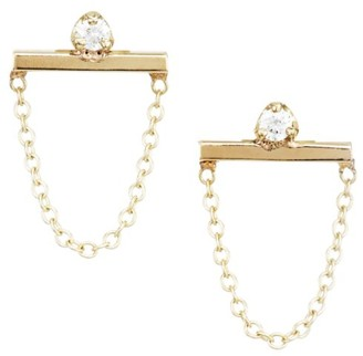 Zoë Chicco 14K Yellow Gold & Diamond Bar & Chain Stud Earrings