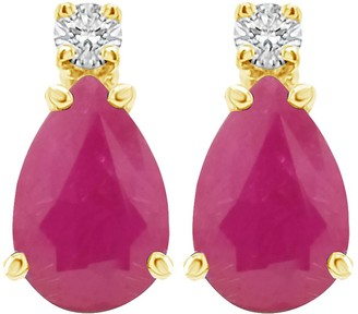14K Gold Pear-Shaped Gemstone Diamond Accent Earrings