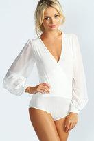 Boohoo Annie Chiffon Sleeve Wrap Bodysuit