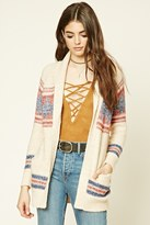 Forever 21 FOREVER 21+ Abstract Print Shawl Cardigan