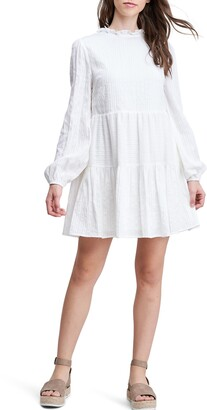 En Saison Ruffle Trim Long Sleeve Cotton Dress