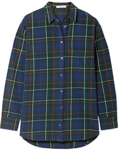 Madewell Ex-boyfriend Checked Cotton-flannel Shirt - Green