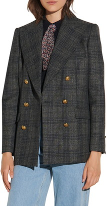 Sandro Plaid Double Breasted Blazer