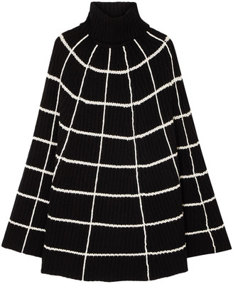 Madeleine Thompson Charlotte Checked Wool And Cashmere-blend Turtleneck Poncho