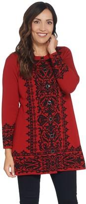 GRAVER Susan Graver Jacquard Button-Front Sweater