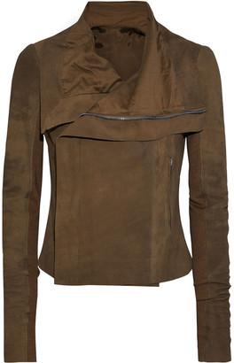 Rick Owens Ribbed Knit-paneled Nubuck Biker Jacket