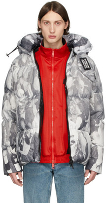 Burberry Grey Down Rave Print Puffer Jacket