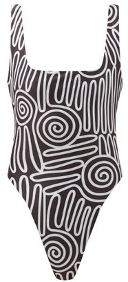 Mara Hoffman Idalia Voluta-print High-cut Leg Swimsuit - Black White