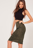 Missguided Faux Suede Midi Skirt Khaki