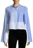 Derek Lam 10 Crosby Long-Sleeve Button-Front Mixed Stripe Tuxedo Shirt