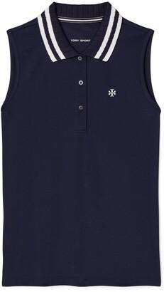 Tory Burch Performance Pique Pleated-Collar Sleeveless Polo