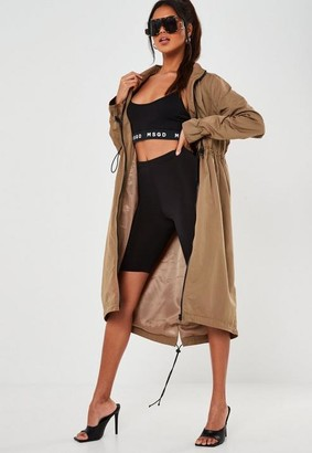 Missguided Camel Contrast Trim Utility Trench Coat