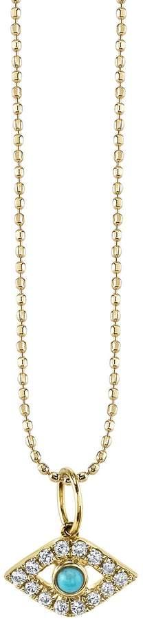 Sydney Evan Turquoise and Diamond Large Bezel Evil Eye Necklace