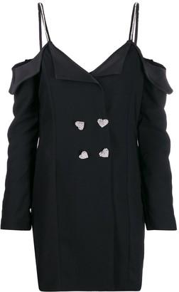 Silvia Astore Embellished Strap Tuxedo Dress