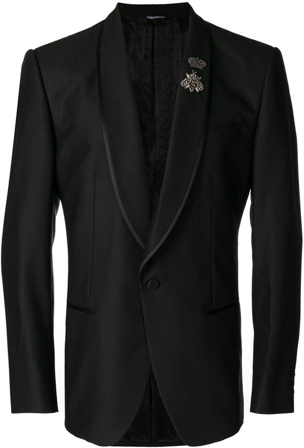 Dolce & Gabbana classic blazer with crowned bee appliqué