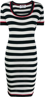 Moschino Pre Owned Striped Fitted Dress