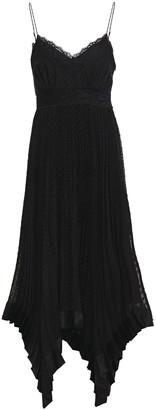 Zimmermann Espionage Lace-trimmed Pleated Swiss-dot Chiffon Midi Slip Dress