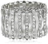 """GUESS Basic"""" Silver and Crystal Wide Stretch Bracelet"""