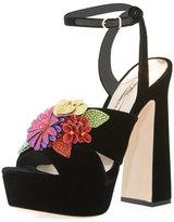 Sophia Webster Lilico Floral Velvet Block-Heel Sandal