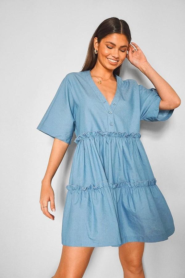 boohoo Chambray Tiered Mini Dress