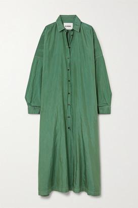 Jil Sander Hammered-satin Maxi Shirt Dress - Green