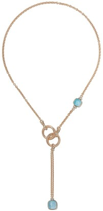 Pomellato 18kt rose and white gold Nudo sky blue topaz and diamond necklace