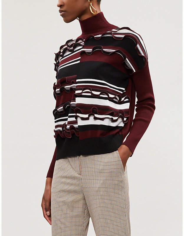 Sportmax Madison striped ruffled wool-blend turtleneck jumper