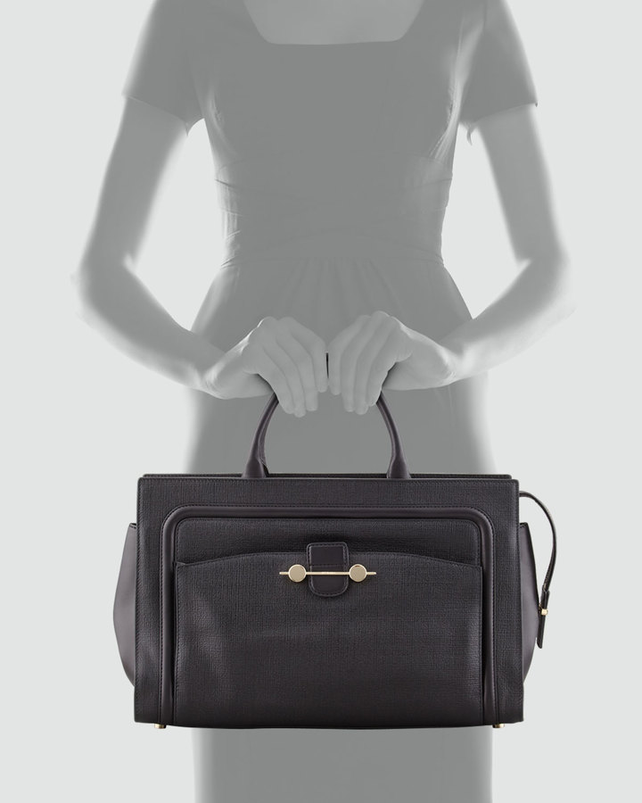 Jason Wu Daphne 2 East/West Leather Tote Bag, Black