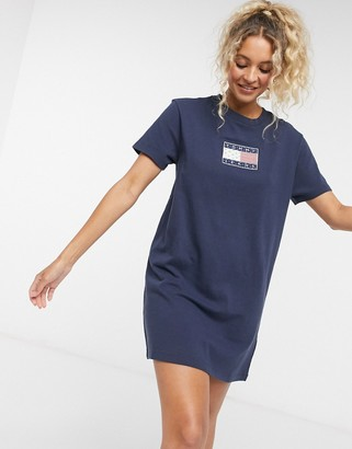 Tommy Jeans logo tee dress in navy