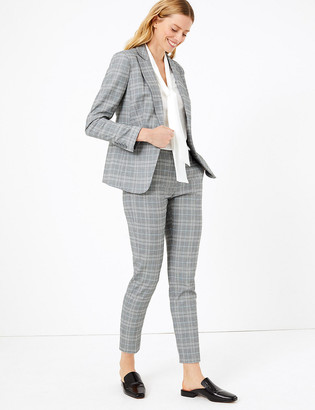Marks and Spencer Checked Slim Fit Ankle Grazer Trousers