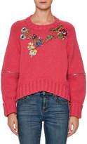 Alexander McQueen Zip-Elbow Sweater w/Jewels