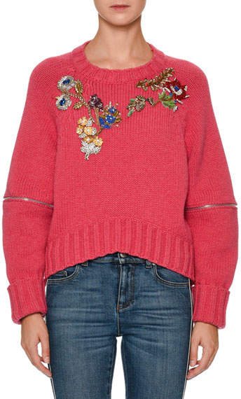 Alexander McQueen Zip-Elbow Sweater w/Jewels