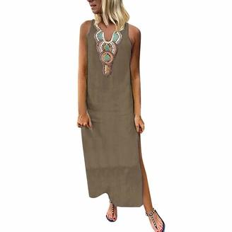 Zerototens Women Dress Zerototens Women Summer Vintage Sleeveless Printed V-Neck Maxi Dress Loose Boho Bohemian Straight Dress Casual Kaftan Boho Maxi Cotton Dresses Black