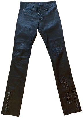 Chrome Hearts Black Leather Trousers