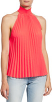 A.L.C. Imani High-Neck Pleated Top
