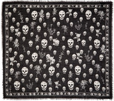 Alexander McQueen Black Romantic Weeds and Skull Pashmina Scarf
