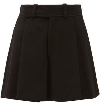 Chloé Pleated A-line Double-faced Crepe Shorts - Black