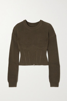 RtA Fitz Paneled Ribbed Cotton Sweater - Army green