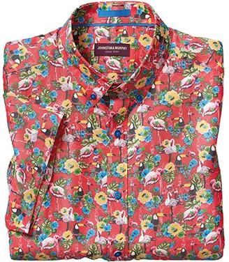 Johnston & Murphy Short Sleeve Tropical Birds Print (Red) Men's Clothing