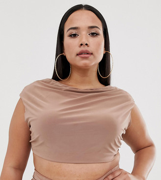 Club L London Plus cowl neck slinky top in camel