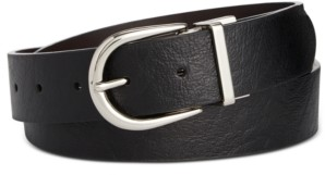 Calvin Klein Reversible Flat-Strap Leather Belt