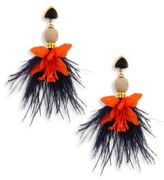 Lizzie Fortunato Garden Party Onyx & Ostrich Feather Drop Earrings