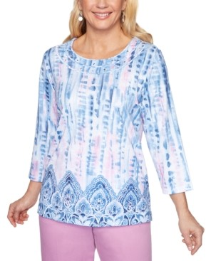 Alfred Dunner Petal Pushers Tie-Dyed Embellished Knit Top