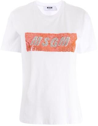 MSGM sequinned logo T-shirt