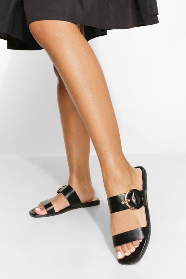 boohoo Wide Fit Buckle Double Strap Sandals