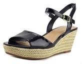 Lauren Ralph Lauren Keara Open Toe Patent Leather Wedge Sandal.