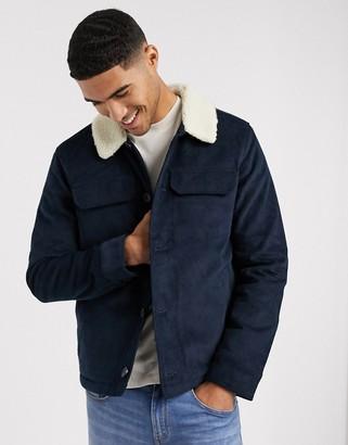 Farah Kingsland jacket with faux shearling collar