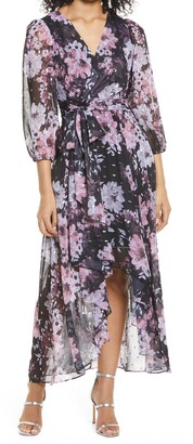 Eliza J Floral Metallic Fleck High/Low Dress