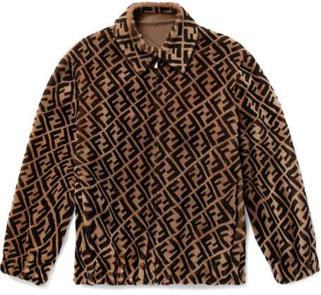 Fendi Reversible Logo-Print Shearling And Leather Bomber Jacket
